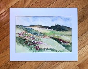 Original Floral Landscape, Watercolor Landscape, original painting, Floral fied, mountains painting, abstract landscape, landscape painting