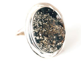 All Natural  • solid sterling SILVER • Graphic • Ring • Norwegian Pyrite • Size 10