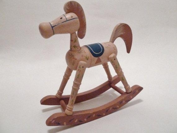 Vintage Wooden Rocking Horse/Schmid 1980s/Mauve blue saddle/Vintage Nursery Decor//Shabby Chic Horse decor/Painted horse/teaberry