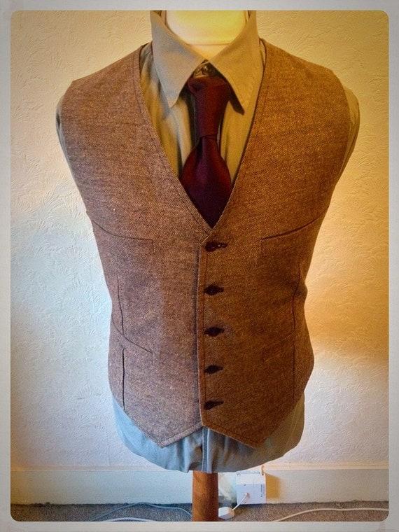 Brown Wedding Vest Wool Tweed Blend Brown Waistcoat Party Groomsmen Custom made Vest Best Man