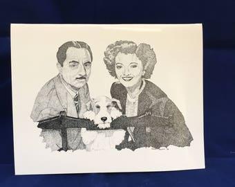 Asta The Thin Man vintage greeting card