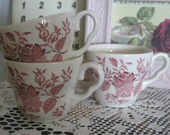 Vintage ENGLISH Rose TEA CUPS.3 English Tea-Coffee Cups.Vintage Tea Cups.Red Rose Tea Cups.Dark Pink Roses Tea Cups.Vtg Cups For Tea/Coffee.