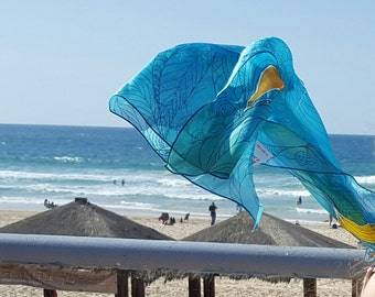 Flying Fish Batik silk scarf, Hand painted natural  Luxury silk scarf  decorated OOAK