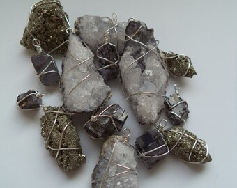 Wire-wrapped Raw Crystal Pendants