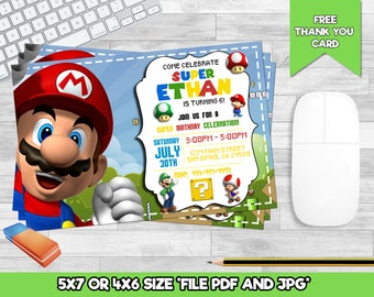 SUPER MARIO birthday invitation, mario ticket invite - printable file, personalized for Super Mario bros birthday party