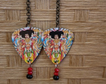 Jimi Hendrix guitar pick earrings, guitar pick jewelry, are you experienced, hippie earrings