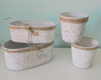 Set of 4 Planters, Shabby Cottage Chic Hand Painted, White Vases, White Planters