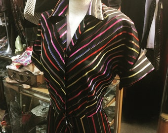 """An exceptionally well-striped 1940s gown """"ribbon dress"""""""