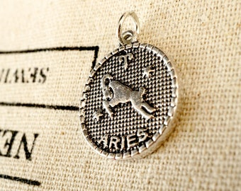 Zodiac Aries charm silver vintage style pendant jewellery supplies C213