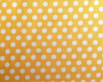 Yellow Dot Fabric - Michael Miller Mango Kiss Dot Fabric - Yellow and White Polka Dot Material