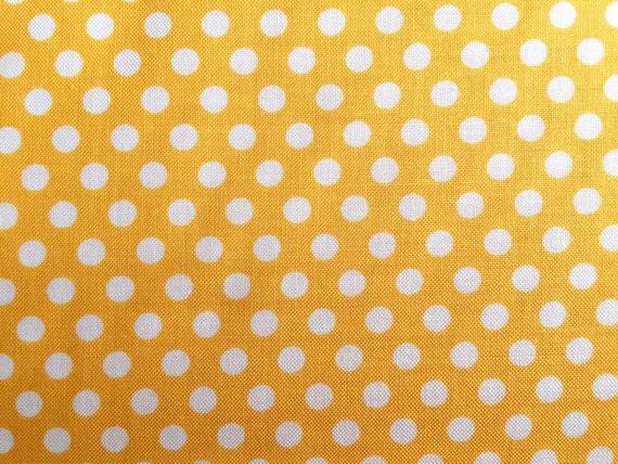 Yellow Dot Fabric - Michael Miller Mango Kiss Dot Fabric - Yellow and White Polka Dot Material