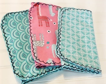 Flannel Burp Cloth Set of 3 - Pink/Turquoise Giraffes