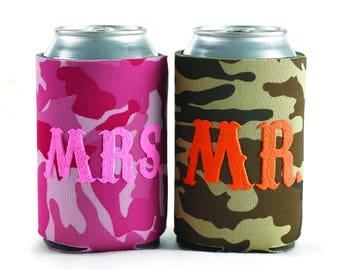 Mr. and Mrs. Camo - Can Coolers Set of Two
