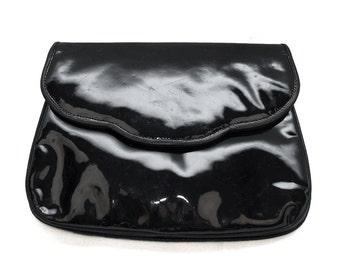 Vintage Goldstar black lacquered evening bag clutch/ shoulder bag