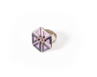 First love flower ring, silver ring, unusual statement ring, feminine geometric fashion ring, modern textile ring, triangulars ring