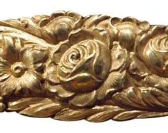 Antique Signed S Kirk & Son Sterling Repousse Floral Pin