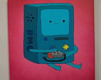 BMO playing with itself Adventure Time 12x12 Stretched Canvas Painting