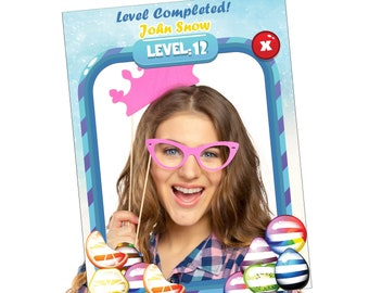 Large Personalized Candy Game Birthday photo booth prop frame, Mobile Game Party, Gaming Birthday, Candy Banner, Colorful Backdrop ;10011105
