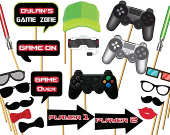 Custom Video Game Photo booth props, video game, gaming party, video game props, Kids Gaming Birthday, Video Game Party Decorations ;1002014