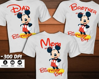 SET Mickey Mouse Birthday Shirt for Family-Mickey Mouse Iron on Transfer T-Shirt-Mickey mouse decoration party -DIGITAL DOWNLOAD