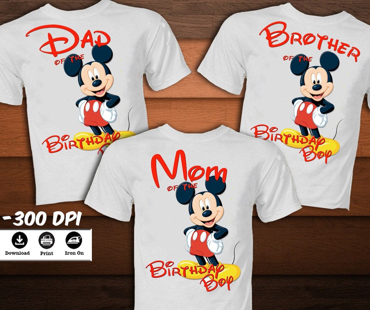 SET Mickey Mouse Birthday Shirt for Family-Mickey Mouse Iron
