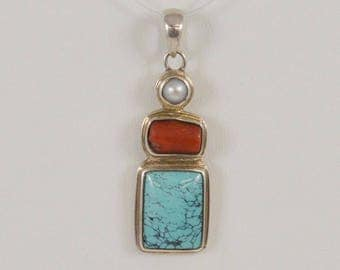 Sterling Silver 925 Turquoise Coral And 4.9 Mm Pearl Pendant(00998)