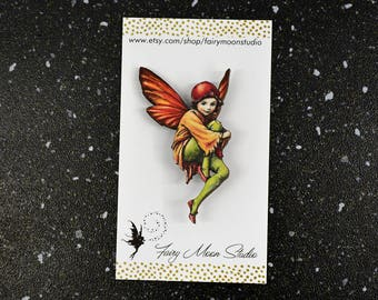Flower Fairy ~ Wood Laser Cut - Altered Art Pin / Brooch Vintage Graphic