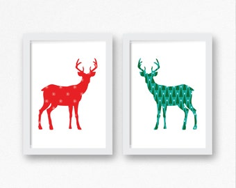 Deer Buck Pattern - Christmas Digital Print, Instant Download