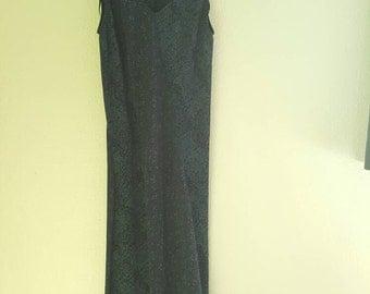 Vtg 90s Blue Floral Maxi Dress