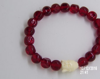 B1234  Red Glass Beaded Bracelet with White Buddha Charm
