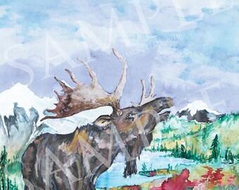 "Moose and plane Watercolor ""Tomorrow"""