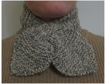 Ascot scarf hand knitted keyhole scarf taupe fleck