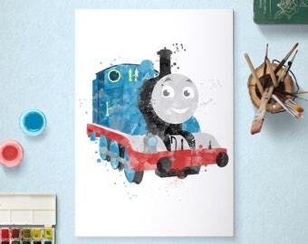 Thomas the Tank Engine, Poster, Watercolour Art, Printable Instant Download