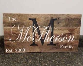 Personalized Wood Sign, Custom Name Wood Sign,Last Name Sign, Wedding Gift Sign, Established Date Family Sign, Anniversary Gift, Rustic