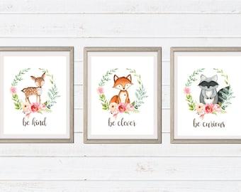 Tribal Boho Animals Nursery Prints - Watercolor Floral Nursery Wall Art - Boho Tribal Animal Printables - Printable Art - Nursery Print
