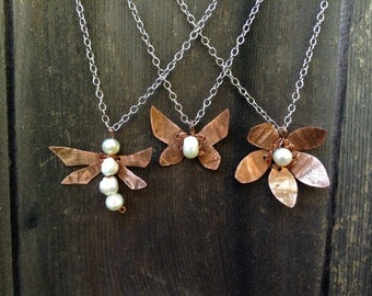 Copper Garden Necklace freshwater pearl flower dragonfly butterfly siver