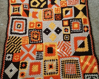 Eye Catching  Crochet  Orange and Brown Afghan with Granny Squares