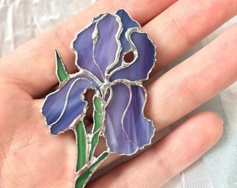 Stained Glass Iris Flower Brooch in Tiffany Technique, Spring Violet Flower Brooch, Lilac Iris Flower Art Glass Brooch, Flower Iris Jewelry