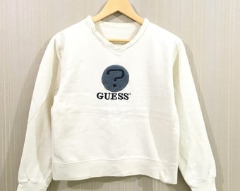Rare!! Vintage GUESS Women Sweatshirt 90's big logo embroidery spell out Small Size