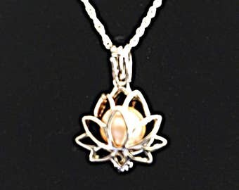 Sterling Silver Lotus Pearl Cage