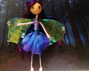 Flower fairy foll with wings- Bendy doll