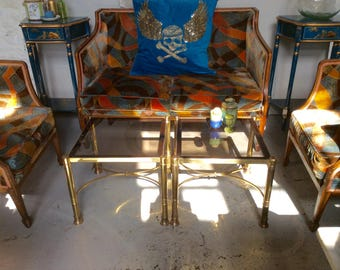 Vintage pair of brass and glass coffee tables