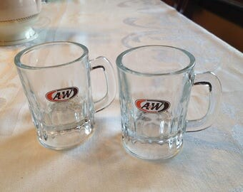 "Vintage A & W Mugs, Small Root Beer Mugs, ""An American Food"""