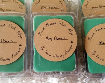 May Flowers, soy wax melts, floral scents, spring wax tarts, clamshell melts, candle melts, roses,  April showers, gifts for her