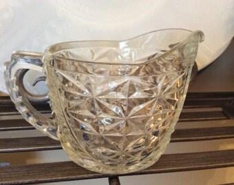 Vintage Crystal Glass Sugar & Creamer Set