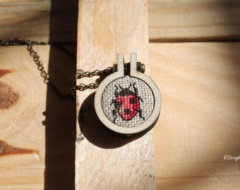 Ladybug cross stitch embroidered C necklace