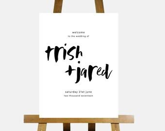 MODERN HANDWRITTEN Printable Wedding Welcome Sign,Customized Wedding Signage,DIY digital Reception Sign,minimalist welcome to our wedding