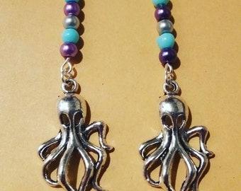 Octopus earrings - sterling silver hooks used