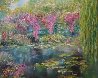 "Landscape ""Flower of Monet's pond"" painting impressionism oil on canvas 50 x 50 cm oil painting Impressionism nature water lilies"