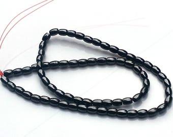 Dark grey non magnetic hematite beads - hematite beads  - oval beads - gemstone beads